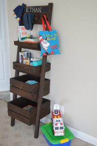 kids display/storage station with crates and baskets